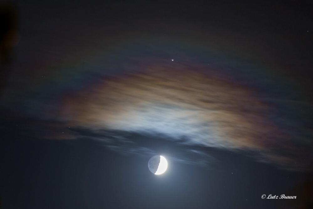 Mond, Jupiter (mit Jupitermond)